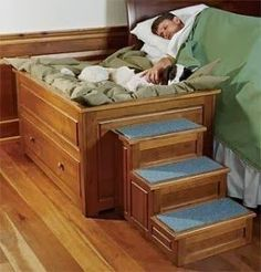 elevated raised dog bed wood frame bed attachment extension stairs