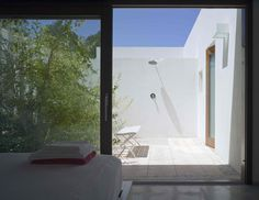 Garden & Landscaping, Amazing White House Ibiza Architecture Design In Spain By De Blacam And Meaguer Architects Featuring Bedroom With Courtyard And Interior Garden: Lovely Backyard Garden Design in Ibiza with Wonderful Valley View