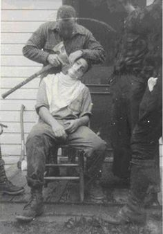 #axe shave I bet this happened to my gramp in the logging camps !