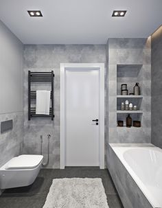 Wood-concrete duo on Behance Bathroom Design Luxury, Bathroom Design Small, Modern Bathroom, Grey Bathroom Tiles, Grey Bathrooms, Home Room Design, House Design, Concrete Wood, Bathroom Inspiration