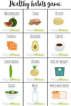 Let's play healthy bingo with Precise Portions  Just print these cards.