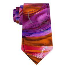 Men's Jerry Garcia Silk Tie & Collector's Pin Set, Orange