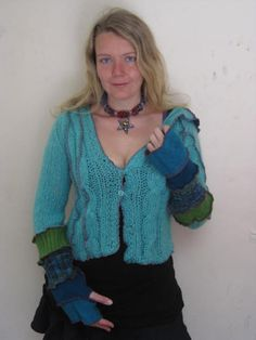 Cardigan HOODIE upcycled Sea nymph by katwise on Etsy