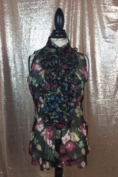 Lauren Ralph Lauren Women's Black Floral Sleeveless Ruffled Sheer Blouse Size 10 #LaurenRalphLauren #KnitTop