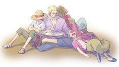 The Dark King with the Pirate King, the future Yonko and the future Shichibukai :3