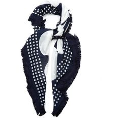 Weekend Max Mara Acume scarf ($125) ❤ liked on Polyvore featuring accessories, scarves, navy white, navy blue scarves, navy blue shawl, weekend max mara, lightweight scarves and polka dot scarves