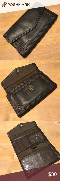 Fossil Wallet Dark Brown almost Black - super soft but not too stretched out though. Holds checkbook, pen, license, 7 cards, cash and coins with extra slots for randoms. Fossil Bags Wallets