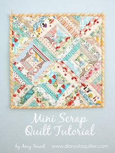 Free tutorial for easy scrap quilt block using fabric strips. Ideas for using up fabric scraps.
