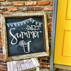 Fun summer chalkboard party welcome sign