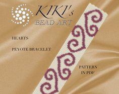 Peyote Pattern for bracelet Metallic flowers por KikisBeadArts