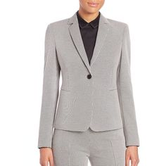 Akris Punto Mini Houndstooth Jersey One-Button Blazer (4,170 PEN) ❤ liked on Polyvore featuring outerwear, jackets, blazers, apparel & accessories, long line jacket, one button jacket, houndstooth jacket, long blazer and one button blazer