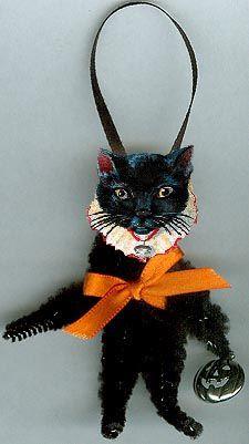 antique or vintage look black cat Victorian scrap Halloween ornament