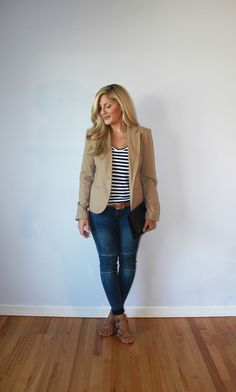 Outfitted411: Light Layers...fall outfit, striped shirt, moto jeans, tan blazer
