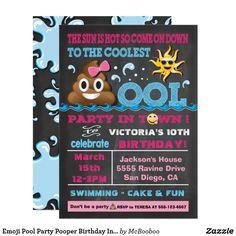 Emoji Pool Party Pooper Birthday Invitation