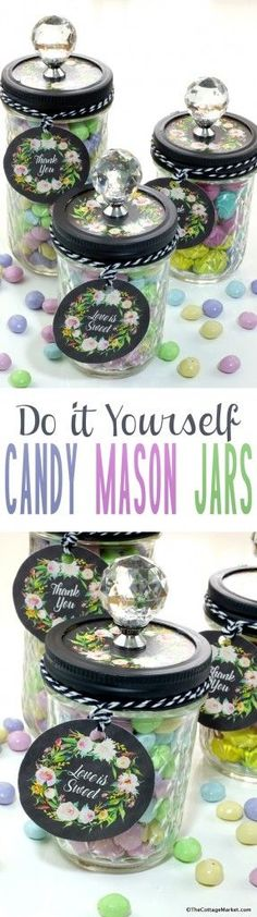 Cute DIY Mason Jar Gift Ideas for Teens - DIY Candy Mason Jars - Best Christmas Presents, Birthday Gifts and Cool Room Decor Ideas for Girls and Boy Teenagers - Fun Crafts and DIY Projects for Snow Globes, Dollar Store Crafts and Valentines for Kids Mason Jar Candy, Mason Jars, Mason Jar Gifts, Canning Jars, Glass Jars, Easy Diy Candy, Pot Mason Diy, Mason Jar Projects, Dollar Store Crafts
