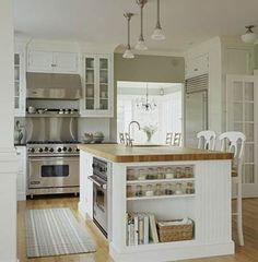 White & pine Country Kitchen... love the island