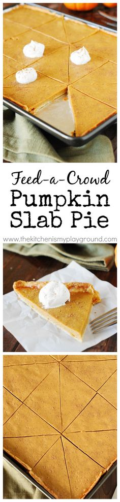 Pumpkin Slab Pie ~ Easily feed a crowd this Thanksgiving and Christmas season. All the deliciousness of traditionally-made pie with more servings per pan!