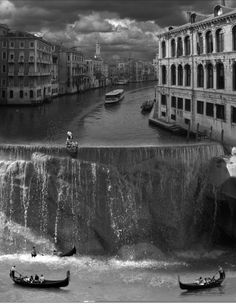 ♂ Dream imagiantion surrealism surreal art by Thomas Barbey Black & white photo waterfall city boats