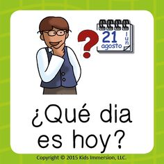 """As your students get more comfortable with their #Spanish lessons, it's time to start introducing helpful phrases for things they'll need to know how to say in everyday life. Like, """"What day is it today?"""" which helps teach a bunch of concepts w/ just one short phrase ~ #WordOfTheWeek #daysoftheweek #elementary #elemchat #earlyed"""