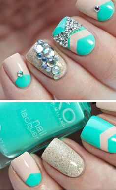 Bling Chevron | 22 Easy Nail Art Designs for Short Nails | DIY Nail Art for Short Nails Tutorial #slimmingbodyshapers  The key to positive body image go to slimmingbodyshapers.com  for plus size shapewear and bras