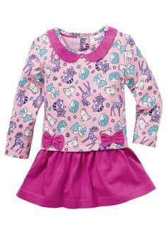 Voir:Cette robe rose et fuchsia est une merveille - à porter pour une grande occasion ou pour tous les jours. Robe en coton bio dotée d'un col rond style Claudine. Le haut et la jupe sont cousus. 3boutons fantaisie dans le dos. Les deux petits nœuds roses apportent la touche finale à l'ensemble.