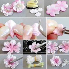 60 Ideas Craft Paper Flowers Handmade Cards For 2019 Crepe Paper Flowers, Fabric Flowers, Handmade Flowers, Diy Flowers, White Flowers, Fleurs Diy, Gum Paste Flowers, Paper Flower Tutorial, Polymer Clay Flowers