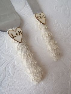 Personalized Burlap Wedding Cake Knife Set-Engraved Initials Rustic Wooden Hearts-Shabby Chic by Creations of Love 4 Brides. $24.00, via Etsy.