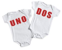 Funny Baby Onesie for Twins Baby Onesie Bodysuits Twins Numero Uno and Numero Dos. $29.98, via Etsy.