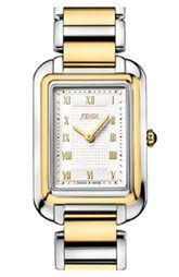 $1095 Fendi 'Classico' Two-Tone Rectangular Bracelet Watch, 25mm x 36mm available at Nordstrom.