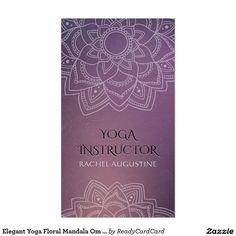 Elegant Yoga Floral Mandala Om Symbol Purple Grung Business Card