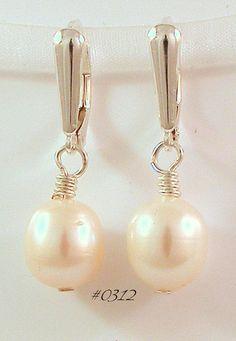 Pearl Sterling Silver Shield Drop Earrings