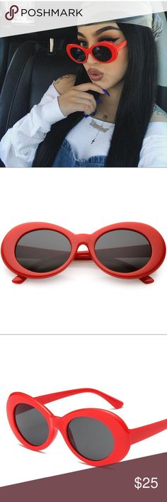 """Raine"" Oversized Red Oval Shades Retro and cool, these oval sunglasses are designed with a rounded oval-shaped frame and round lenses in neutral hues. Complete with arms that taper at the ends and reinforced metal hinges, these chic sunglasses add a fun element to any outfit. Made with plastic based frame and 100% UV protected lenses.   Color: Red frames with smoky black lens Measurements: Lens Height: 41 mm (1.62 in) Lens Width: 51 mm (2.01 in) Bridge: 17 mm (0.67 in) Frame Width: 142 mm…"