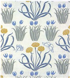'Glade' wallpaper design by C F A Voysey, produced by Sanderson & Sons in 1897.