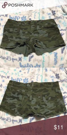Camo cheeky shorts Camo shorts with fringe on bottom Shorts