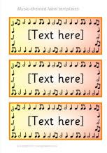 Music-themed classroom label templates. timely, since I've reorganized and wanted to print nice looking labels for storage containers.