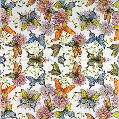 4 Single Party Paper Napkins for Decoupage Decopatch Craft Butterfly World White
