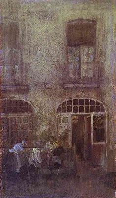 Learn more about White And Grey The Hotel Courtyard Dieppe 1885 James Abbott McNeill Whistler - oil artwork, painted by one of the most celebrated masters in the history of art. James Abbott Mcneill Whistler, American Impressionism, Free Art Prints, Oil Painting Reproductions, Urban Landscape, American Artists, Beautiful Paintings, Architecture, Pop Art
