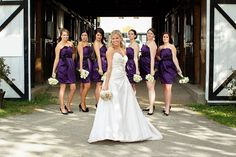 Bride & Bridesmaids in front of a tobacco barn, @ The Ashley Inn Bed & Breakfast
