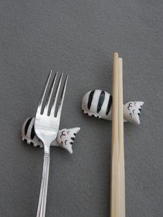 Set of 4 Cat chopsticks holders Cat Family by TatjanaCeramics, $16.00