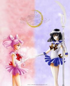ahachune:  Saturn and Chibi Moonby AsunaHatsune on deviantART I wanted to do this since I saw the first images of these covers! ♥