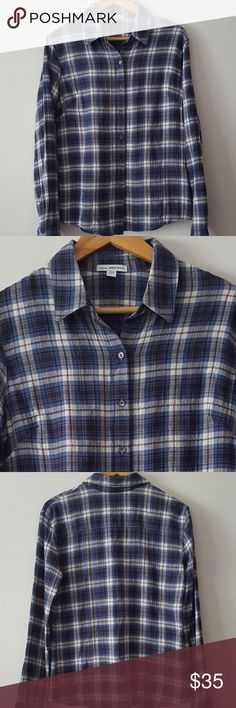 """JAMES PERSE BLUE PLAID TOMBOY BUTTON DOWN Gently used, in like new condition!!  Size Medium (3 in James Perse)  James Perse """"Tomboy"""" blue plaid flannel long sleeve button down shirt  One of my favorite brands and the quality is EXCEPTIONAL!  Button at cuffs/buttons in gray  99% cotton/1% spandex  Approx. measurements - 24 in. sleeves, 17 in. shoulder width, 19 in. pit to pit, 26 in. in length James Perse Tops Button Down Shirts"""
