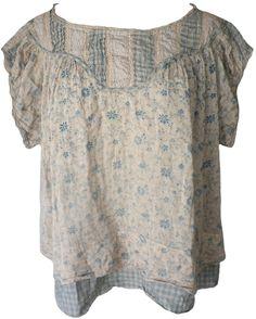 Magnolia Pearl: Grandma Brown floral & county fair check Ottilia Top