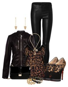"""""""Leopard and Black"""" by laaudra-rasco ❤ liked on Polyvore featuring Ventcouvert, Pull&Bear, River Island, Christian Louboutin, Valentino and GUESS"""