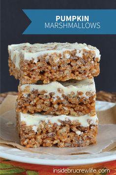 Pumpkin Spice Latte Krispie Treats - All the delicious flavors you like in a latte, like coffee, white chocolate, and pumpkin, in a Rice Krispies treat to make it kid-friendly!