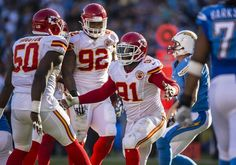 Kansas City Chiefs outside linebacker Tamba Hali (91) celebrated after sacking San Diego Chargers quarterback Philip Rivers (17) in the third quarter on Sunday, November 22, 2015 at Qualcomm Stadium in San Diego, Calif. The Chiefs won, 33-3.