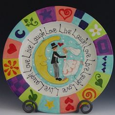 Valentine Plate - Live Laugh Love Plate - Colorful Whimsical Ceramic Pottery for Serving Happy Home Decor Sweet Wedding Gift & Custom Name Personalized Hand Painted Ceramic Wedding Plate or ...