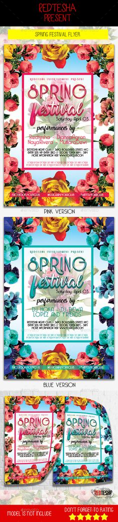Spring Festival #Flyer - Clubs & Parties #Events Download here: https://graphicriver.net/item/spring-festival-flyer/19557011?ref=alena994