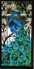 Blue Peacock in stained glass.