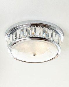 H8D5Q Silvery 3-Light Flush-Mount Ceiling Fixture
