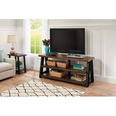 """Better Homes and Gardens Mercer 3-in-1 Brown TV Stand for TVs up to 70"""""""